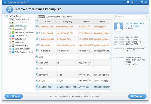 recover contacts from iTunes backup