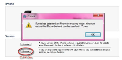 get ipod touch out of recovery mode via itunes