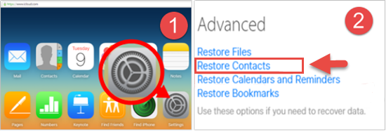 Advanced function to restore contacts